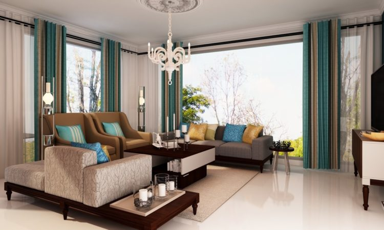 High Quality Classic Teal Living Room. Curtains ...