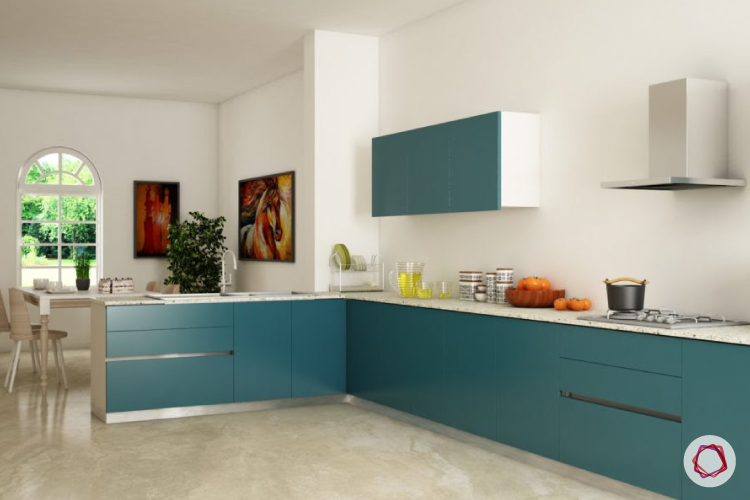 Maintain white walls of your kitchen through regular cleaning.