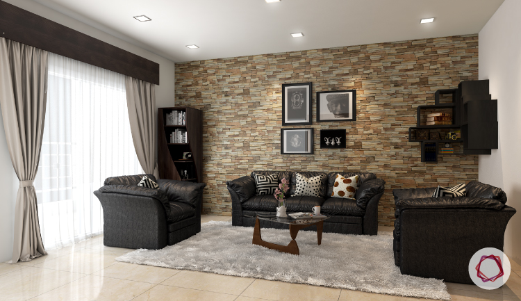 11 stone wall cladding ideas for indian homes - Wall pictures for living room india ...