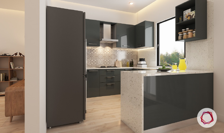 Gorgeous Grey Kitchens For Indian Homes - Glossy grey kitchen