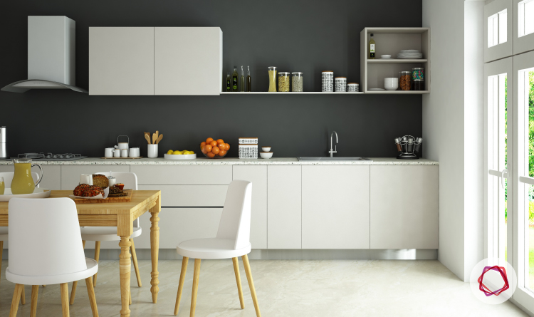 Kitchens With White Cabinets And Wood Shelves